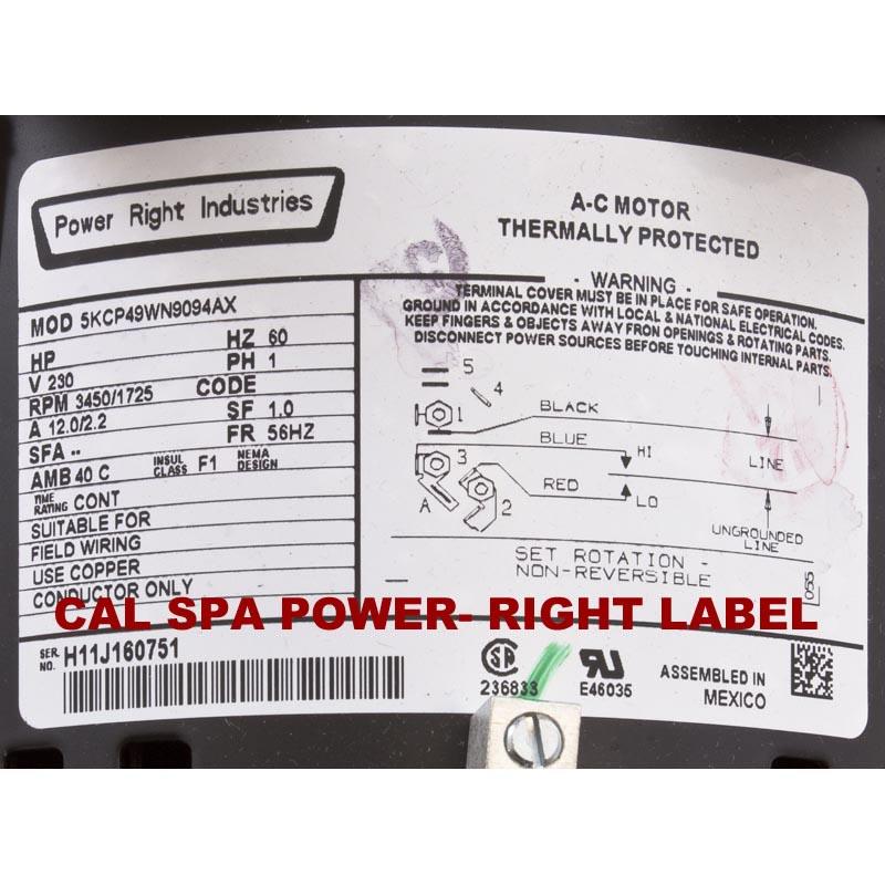 Cal Spa Power-Right 56 Frame 6.0 HP 230 Volt 2 Sd Pump PRC9094X Xp Hot Tub Motor Wiring Diagram on