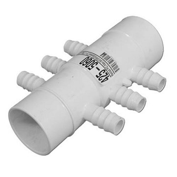 "Waterway Manifold 2"" Slip x 2"" Spig With (6) 3/4"" Barbs 425-5060"