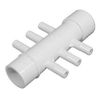 "Waterway Manifold 1"" Slip x 1"" Spigot x (6) 3/8"" Ribbed Barbs 672-3900"