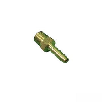 "Brass Barbed Adapter 1/4"" Ribbed Barb x 1/8"" MPT"
