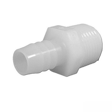 "Plastic Barbed Adapter 1/2"" Ribbed Barb x 1/2"" MPT"